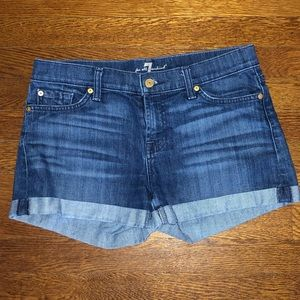 7 For All Mankind Rolled Hem Jean Shorts
